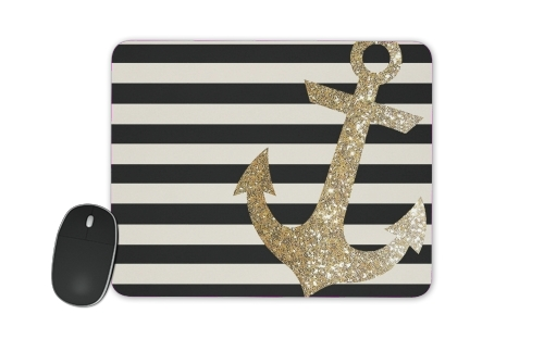 gold glitter anchor in black for Mousepad