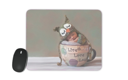 Painting Baby With Owl Cap in a Teacup for Mousepad