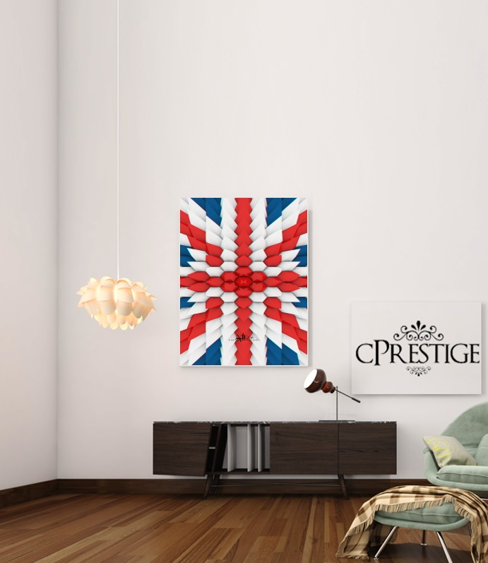 3D Poly Union Jack London flag for Art Print Adhesive 30*40 cm