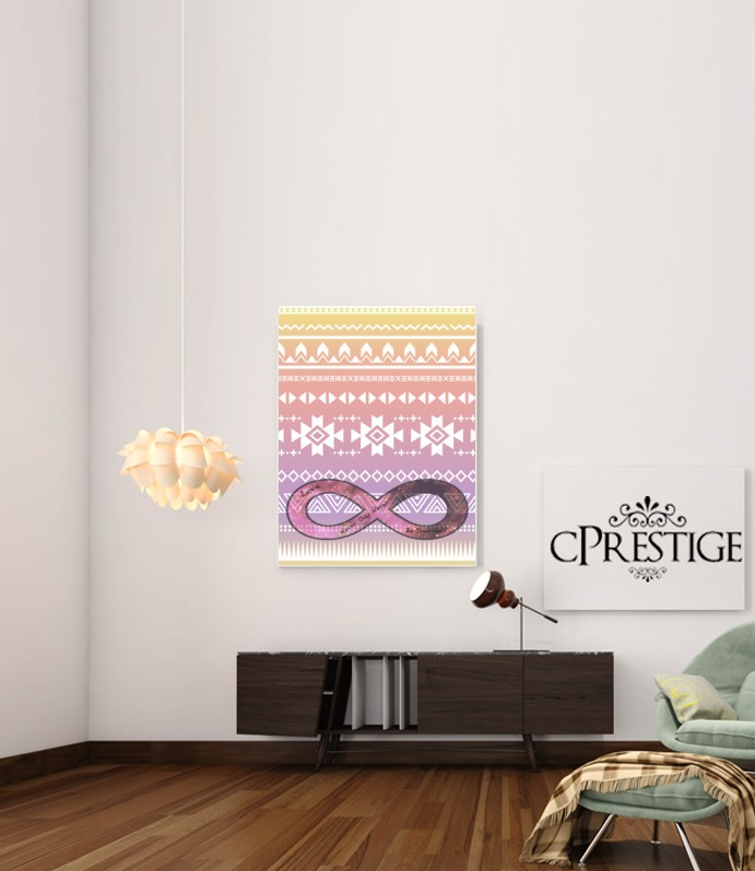 Pink Aztec Infinity for Art Print Adhesive 30*40 cm