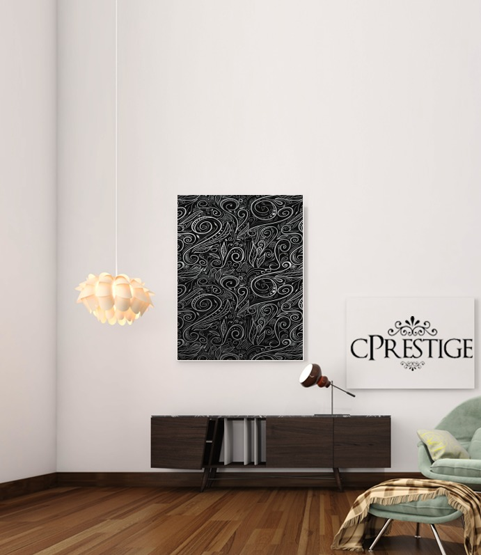 Black Silver Damasks for Art Print Adhesive 30*40 cm