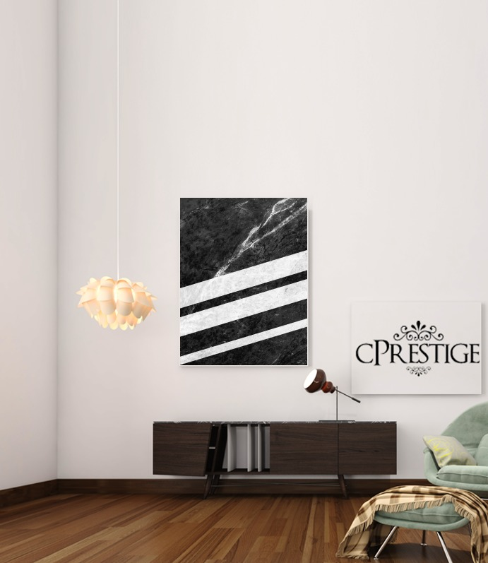 Black Striped Marble for Art Print Adhesive 30*40 cm