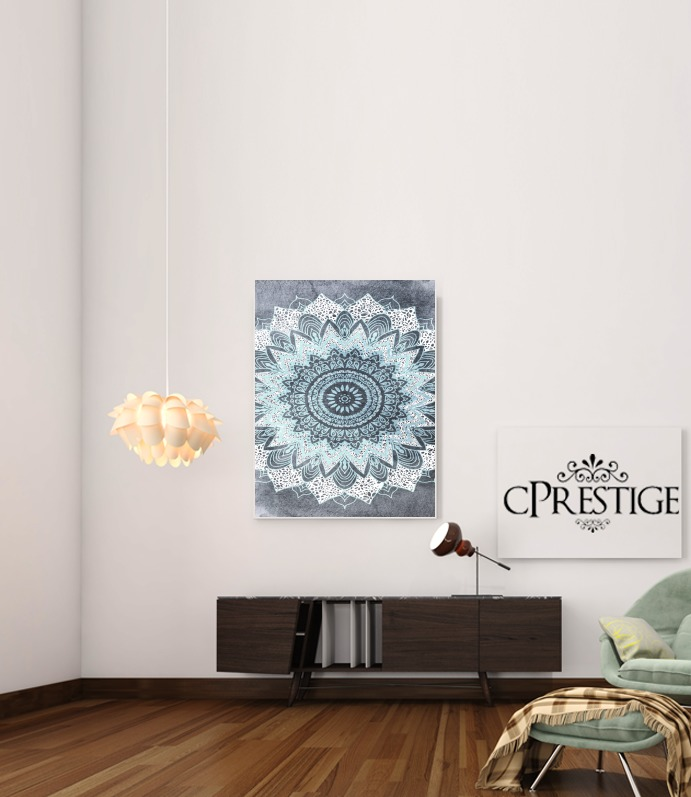 Bohochic Mandala in Blue for Art Print Adhesive 30*40 cm