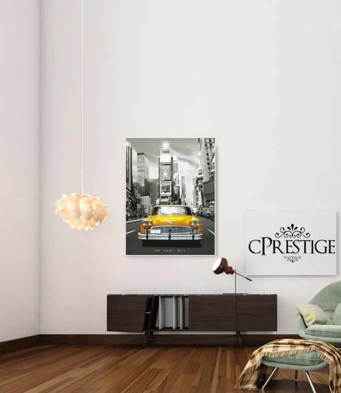 Yellow taxi City of New York City for Art Print Adhesive 30*40 cm
