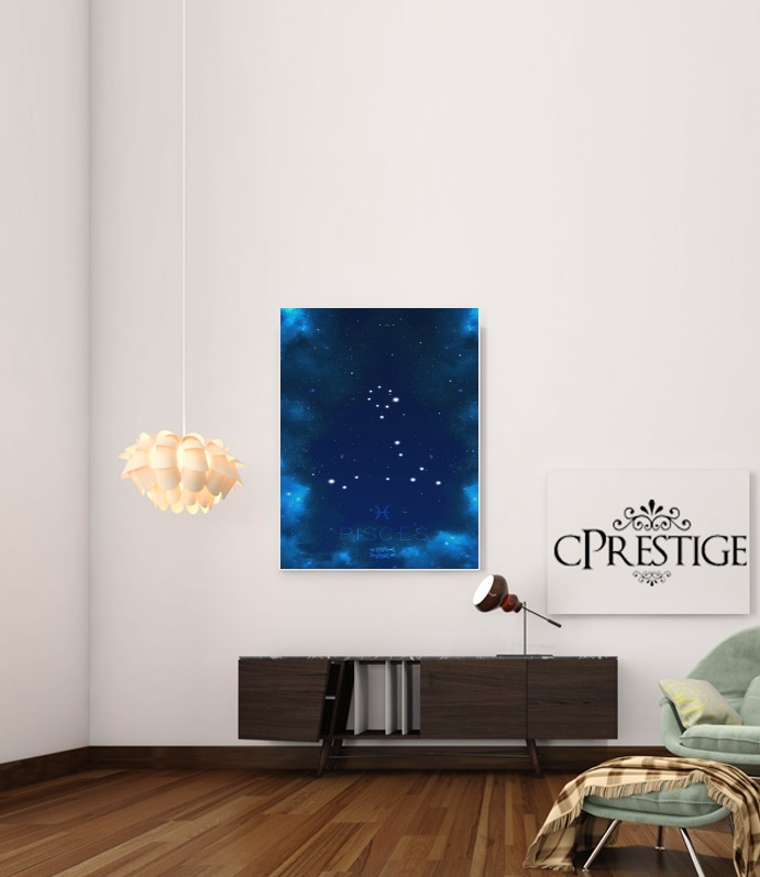 Constellations of the Zodiac: Pisces for Art Print Adhesive 30*40 cm