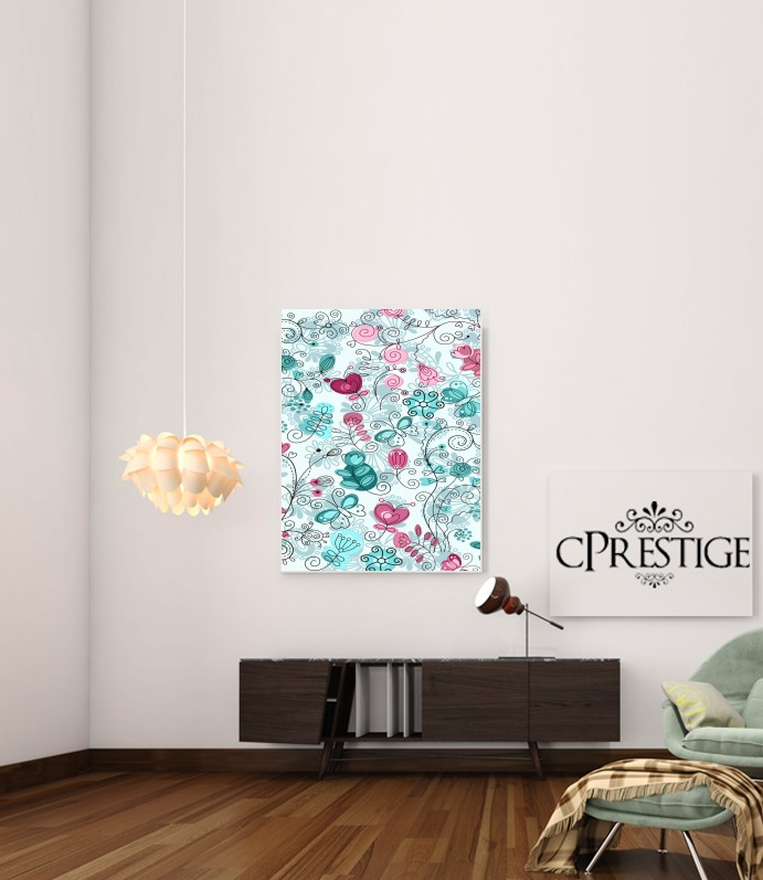 doodle flowers and butterflies for Art Print Adhesive 30*40 cm