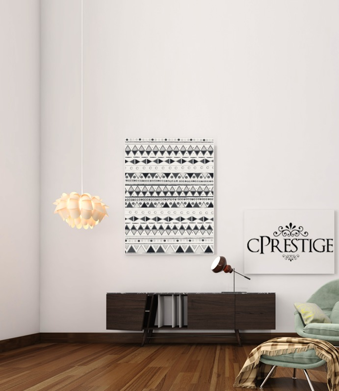 Ethnic Candy Tribal in Black and White for Art Print Adhesive 30*40 cm