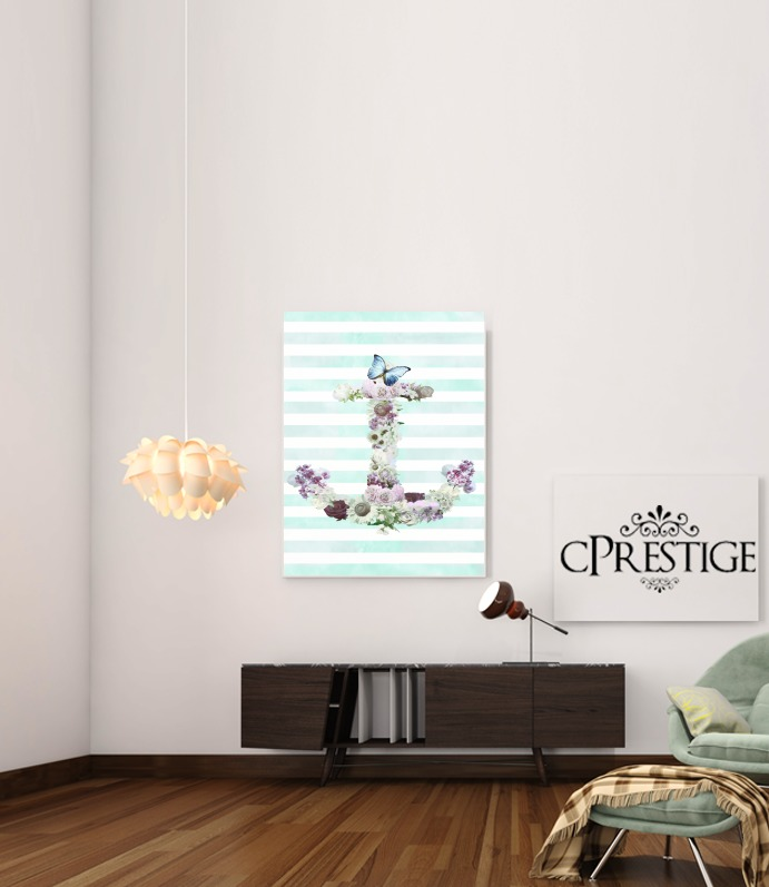 Floral Anchor in mint for Art Print Adhesive 30*40 cm