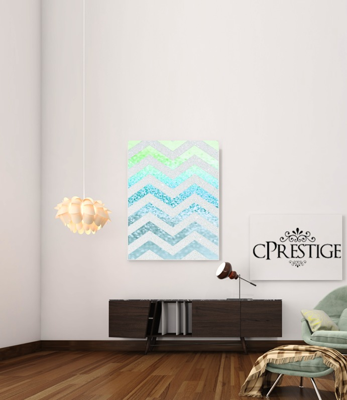 FUNKY CHEVRON BLUE for Art Print Adhesive 30*40 cm