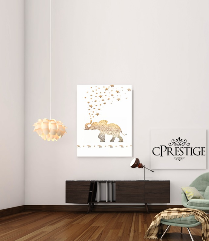 Gatsby Gold Glitter Elephant for Art Print Adhesive 30*40 cm