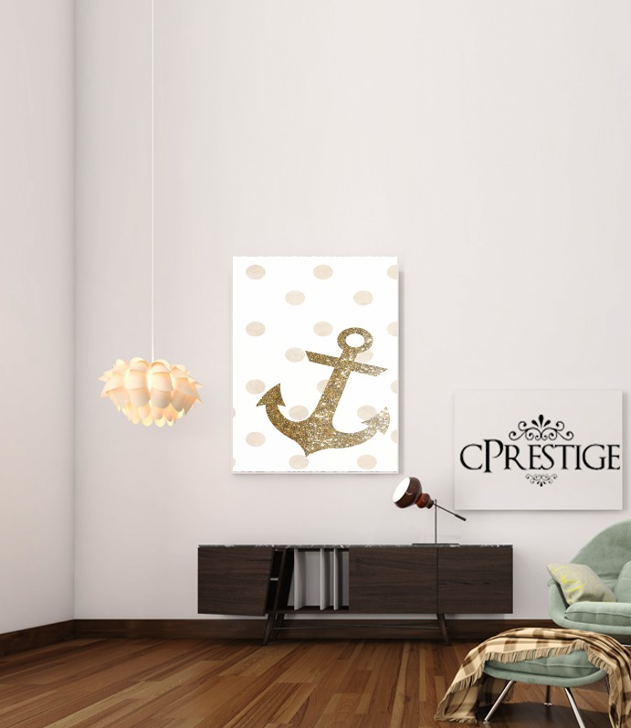 Glitter Anchor and dots in gold for Art Print Adhesive 30*40 cm