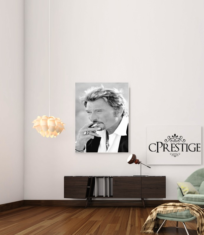 johnny hallyday Smoke Cigare Hommage for Art Print Adhesive 30*40 cm