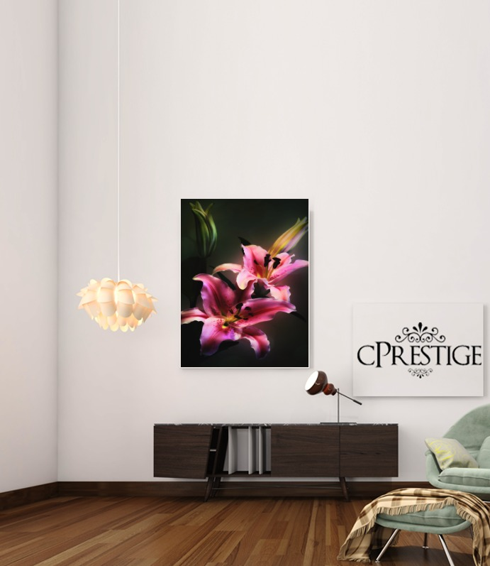 Painting Pink Stargazer Lily for Art Print Adhesive 30*40 cm