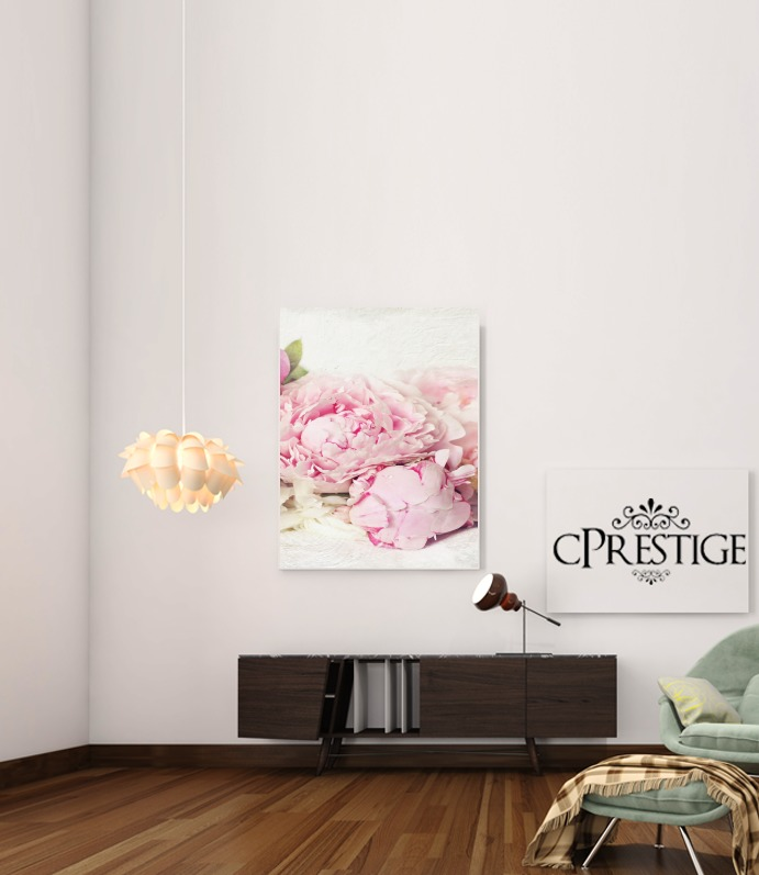 peonies on white for Art Print Adhesive 30*40 cm