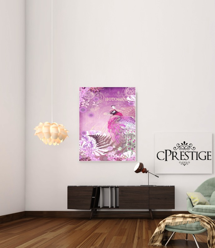 PINK PEACOCK for Art Print Adhesive 30*40 cm