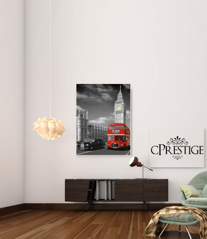 Red bus of London with Big Ben for Art Print Adhesive 30*40 cm