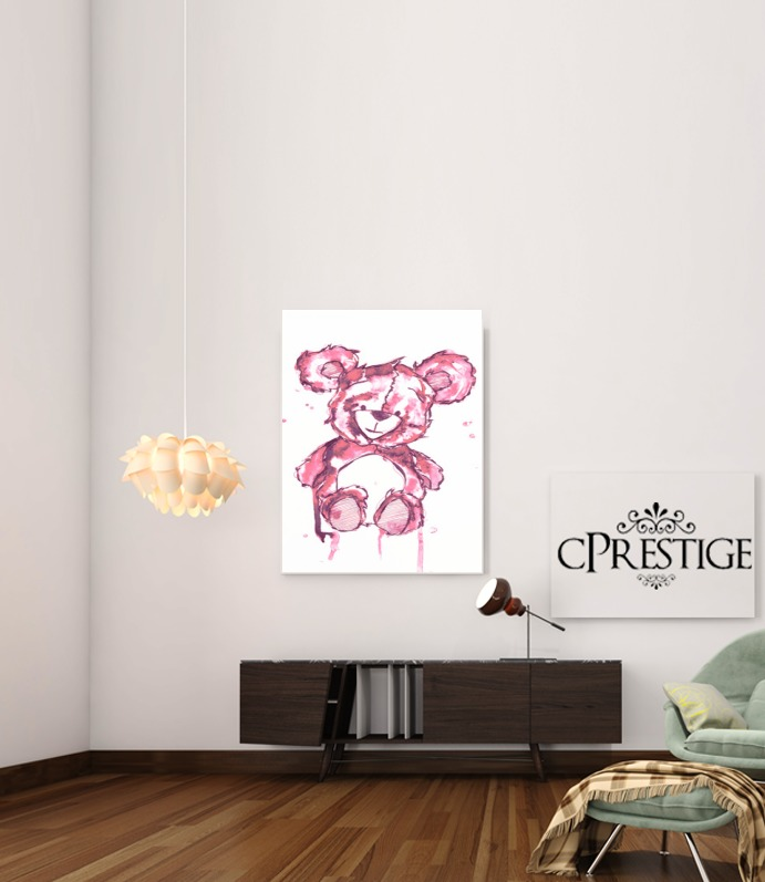 Pink Teddy Bear for Art Print Adhesive 30*40 cm