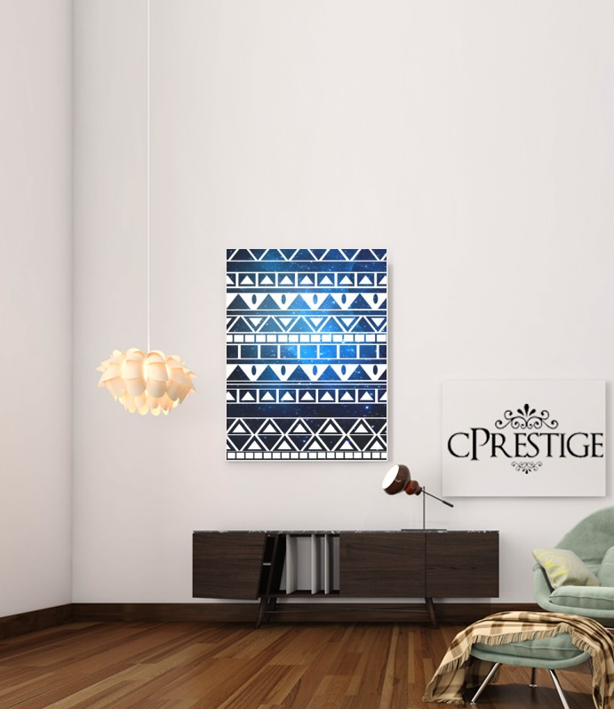 Tribal Aztec Pattern Blue for Art Print Adhesive 30*40 cm