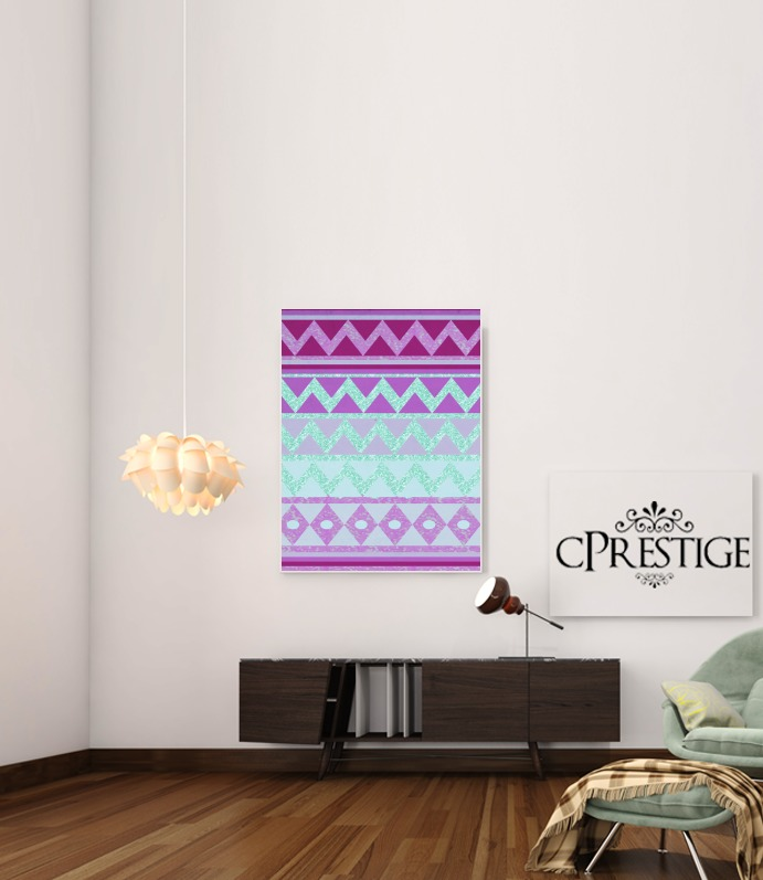 Tribal Chevron in pink and mint glitter for Art Print Adhesive 30*40 cm