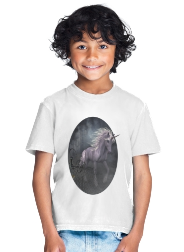 A dreamlike Unicorn walking through a destroyed city for Kids T-Shirt