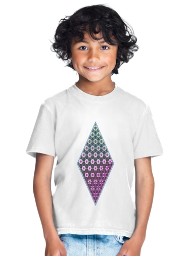 Abstract bright floral geometric pattern teal pink white for Kids T-Shirt