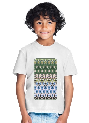 Abstract ethnic floral stripe pattern white blue green for Kids T-Shirt