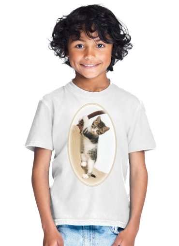 Baby cat, cute kitten climbing for Kids T-Shirt