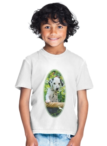 Cute Dalmatian puppy in a basket  for Kids T-Shirt