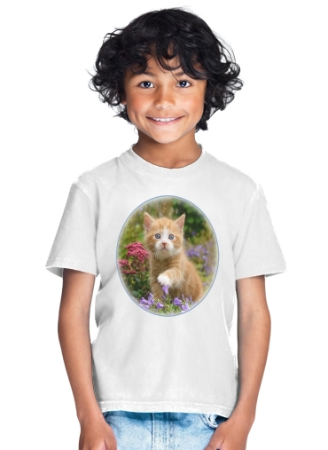 Cute ginger kitten in a flowery garden, lovely and enchanting cat for Kids T-Shirt