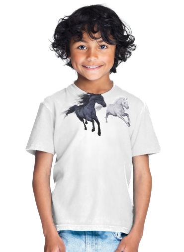 Horse freedom in the snow for Kids T-Shirt