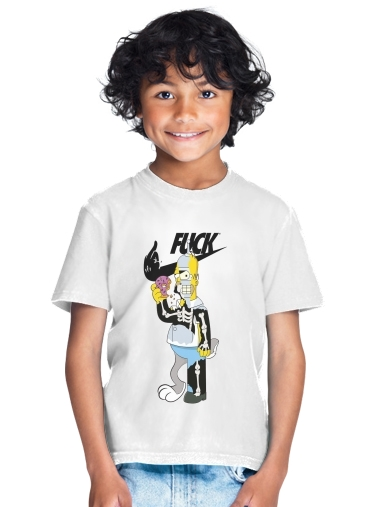 Home Simpson Parodie X Bender Bugs Bunny Zobmie donuts for Kids T-Shirt
