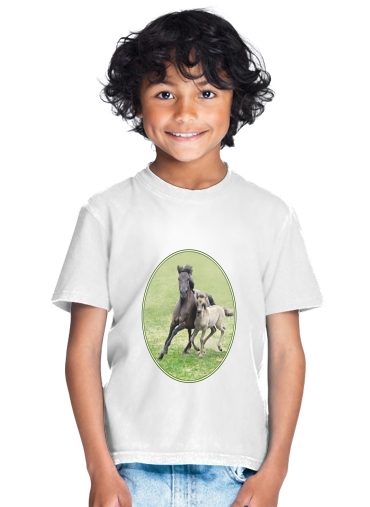 Horses, wild Duelmener ponies, mare and foal for Kids T-Shirt