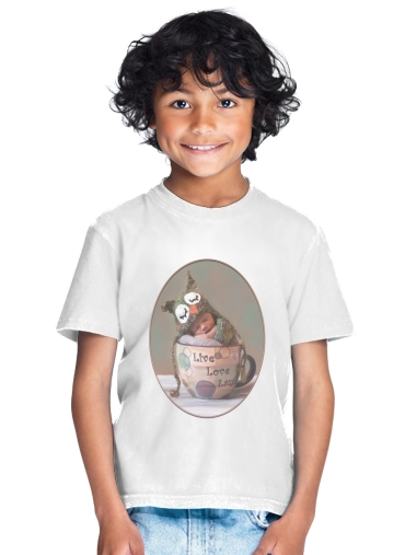 Painting Baby With Owl Cap in a Teacup for Kids T-Shirt