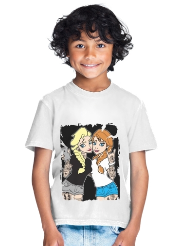 Sisters Selfie Tatoo Punk Elsa Anna for Kids T-Shirt