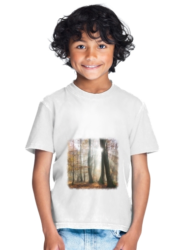 Sun rays in a mystic misty forest for Kids T-Shirt