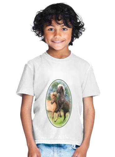 Two Icelandic horses playing, rearing and frolic around in a meadow for Kids T-Shirt