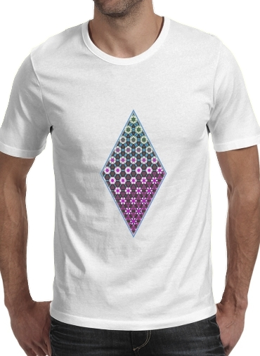 T-Shirts Abstract bright floral geometric pattern teal pink white