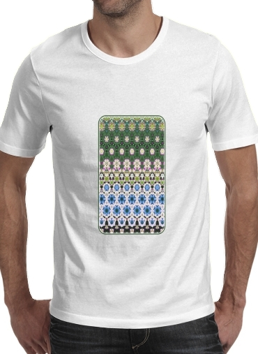 T-Shirts Abstract ethnic floral stripe pattern white blue green
