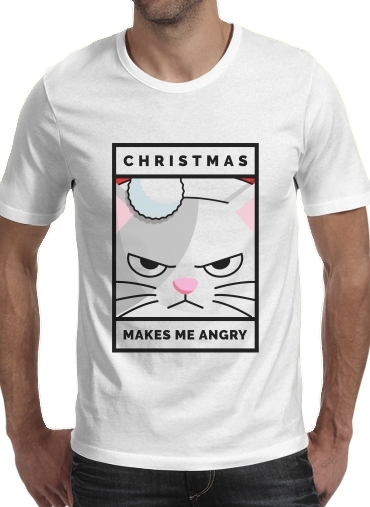 Christmas makes me Angry cat for Men T-Shirt
