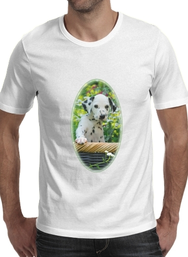 Cute Dalmatian puppy in a basket  for Men T-Shirt