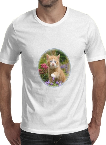 T-Shirts Cute ginger kitten in a flowery garden, lovely and enchanting cat