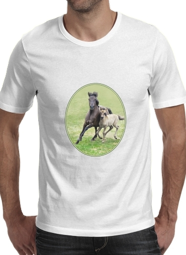 T-Shirts Horses, wild Duelmener ponies, mare and foal