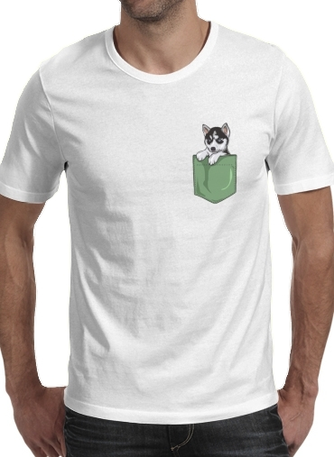 T-Shirts Husky Dog in the pocket
