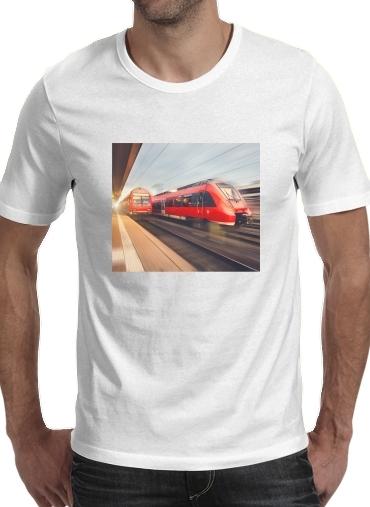 T-Shirts Modern high speed red passenger trains at sunset. railway station