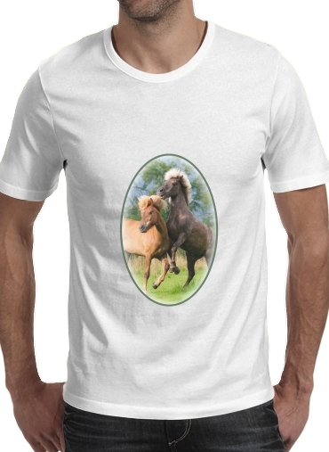 Two Icelandic horses playing, rearing and frolic around in a meadow for Men T-Shirt