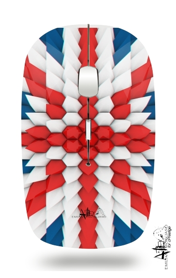 3D Poly Union Jack London flag for Wireless optical mouse with usb receiver