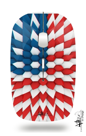 3D Poly USA flag for Wireless optical mouse with usb receiver
