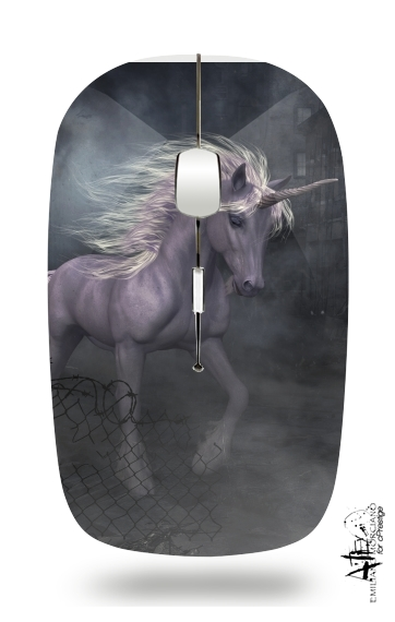 A dreamlike Unicorn walking through a destroyed city for Wireless optical mouse with usb receiver