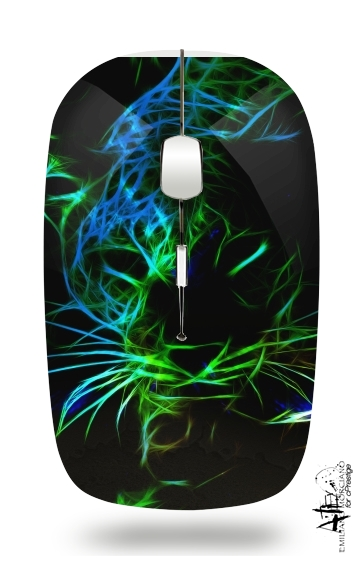 Abstract neon Leopard for Wireless optical mouse with usb receiver