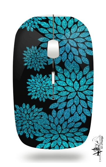 aqua glitter flowers on black for Wireless optical mouse with usb receiver